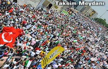 İSRAİLİN YARDIM GEMİLERİNE  SALDIRISI PROTESTO EDİLİYOR